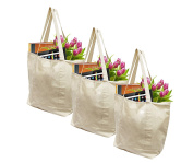 Earthwise Reusable Grocery Bags X-Large 100% Cotton Canvas Shopping Beach Cloth Tote