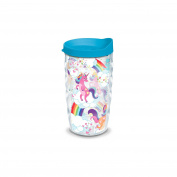 Tervis Unicorn with Rainbow 300ml Wavy Tumbler with Turquoise Lid, Clear