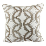 Homey Cosy Woven Cotton Throw Pillow Cover,Beige Series Ivory and Beige Decorative Square Couch Cushion Pillow Case 50cm x 50cm , Cover Only