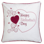 Homey Cosy Valentine's Day Embroidery White Velvet Throw Pillow Cover,Heart Shape Happy Valentines Day with Red Piping Fuzzy Cosy Home Decoration Gift Idea 20 x 20,Cover Only
