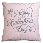 Homey Cosy Valentine's Day Embroidery Pink Velvet Throw Pillow Cover,Cupid Grey Letter Happy Valentines Day Fuzzy Cosy Home Decoration Gift Idea 20 x 20,Cover Only