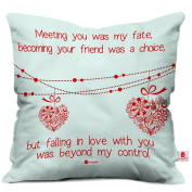 Indibni Valentine Day Gift Love Quote Hearts On A String White Cushion Cover 41cm x 41cm Cushion Throw Pillow Cover, Boyfriend Girlfriend Gifts, Husband Pillow, Wife Gifts, Spouse Gifts