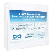 100% Waterproof Mattress Protector and 2 Free Pillow Protectors by Everlasting Comfort. Complete Set, Hypoallergenic, Breathable Membrane