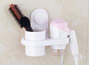 Hair Dryer Holder,Vacuum Suction Cup Hair Dryer Organiser Wall Mount Shelf Rack Stand,Bathroom Washroom Accessories Storage Organiser