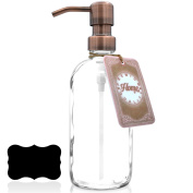 Premium Rust Resistant, 18/8 Stainless Steel, Liquid Hand Soap Pump / Lotion Dispenser - Vintage Inspired, Boston Round Clear Thick, US Made Glass Bottle with Bonus Chalk Label