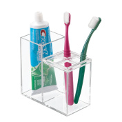 mDesign Bathroom Dental Organiser for Toothbrush, Toothpaste - Clear