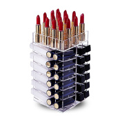 Lipstick Holder, HBlife Acrylic Rotating 64 Lipstick Tower Organiser Spinning Lipstick Tower Lipgloss Holder with Removable Dividers