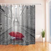 NYMB Paris France Decor Red Umbrella in Rain Eiffel Tower Shower Curtain 180cm X 180cm Mildew Resistant Polyester Fabric Bathroom Fantastic Decorations Bath Curtains Hooks Included