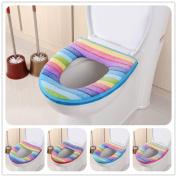 Toilet Seat,Saingace Bathroom Toilet Rainbow Striped Seat Washable Soft Warmer Mat Cover Pad Cushion