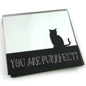 Set of 2 Mirror Finish and Sparkly You Are Purrfect Cat Coasters
