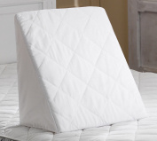 Multi Purpose Adult Comfort Pain Relief Back Support Foam Hypoallergenic Bed Elevate Wedge Pillow Cushion for Acid Re-flux, GERD, Heartburn & Indigestion with Soft White Removable Quilted Cover