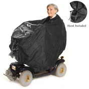 Lightweight and Waterproof Mobility Scooter Cape – Protects Rider and Scooter from Rain Dirt and Splashes – Includes Hood for Full Protection and Zip Chest for Easy Access