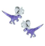 Purple T Rex Dinosaur Earrings - Sterling Silver