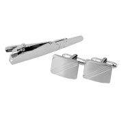 MagiDeal Men's Simple Cufflinks Tie Clip Set Business Wedding Gift
