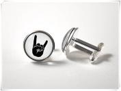 Rock on cuff links Metal music cufflinks Music jewellery