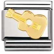 Nomination Composable Classic Music Guitar Stainless Steel and 18K Gold