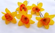 5 Orange & Yellow Daffodil Artificial Flowers Hair Pins