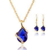 Rcool Women Girl Crystal Pendant Chain Necklace Choker Drop Earrings Jewellery Set