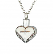 Cross on Heart Urn Pendant - Memorial Ash Keepsake - Cremation Jewellery