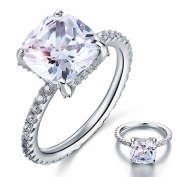 925 Sterling Silver 5 Carat Cushion Cut Created Diamond Solid Wedding Engagement Ring Jewellery