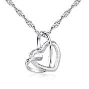 Pendant Necklace for Women, Turkey Silver Heart to Heart Necklace Platinum Alloy Heart Shaped Dull Polish Necklace Long Chain for Lovers
