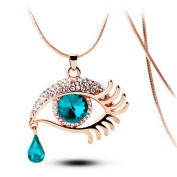 Pendant Necklace for Women, Turkey Fashion Magic Eye Delicate Crystal Tear Drop Eyelashes Necklace Long Chain for Party Cocktail Etc