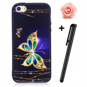 iPhone SE Case,iPhone 5/5S Matte Cover,TOYYM Ultra Slim 3D Animal Flower Pattern Design Anti-Scratch Shockproof Silicone Soft TPU Bumper Case Matte Black Gel Rubber Protective Back Case Cover Skin for Apple iPhone SE/5/5S-Gold Butterfly