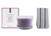 Williams Sonoma French Lavender Triple-Wick Candle With Grey Hand Towel