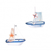 Jili Online Mini Sailboat Wood Rudder Sailing Ship Nautical Collectibles Display 1 & 2