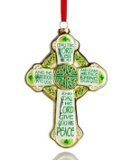 Beautiful Distressed Green & Gold Irish Celtic Cross 13cm Glass Ornament by Holiday Lane - St Patrick's Day Ornament Decoration