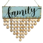 ROSENICE FAMILY Birthday Reminder Hanging DIY Wooden Calendar Plaque Home Wall Decoration