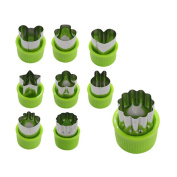 Fangfang 9 pcs Stainless Steel Vegetable Fruit Cookie Shape Cutters Set Kid Food Moulds