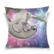 ALAZA Cushion Cover Cute Sloth Pink Bling Square Decorative Pillowcase Throw Pillow Case Double Sided Valentine's Day Home Decoration 46cm x 46cm
