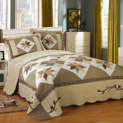 Luxury Geometric Quilt Set Queen Cotton Coverlet Set Full Floral Printed Quilt Bedspread Set Patchwork Quilt Set Vintage Reversible Coverlet Set Full Queen Quilt Set with 2 Pillow Shams, Style4