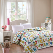 Lovely Kids Children Quilts Twin Size 140cm x 200cm Printed Alphabet Patterns Boys Girls Patchwork Bedspread, 100% Cotton Single Bed Reversible Reversible Quilt Coverlet All Seasons Style2