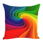 Yunhigh Square Sofa Cushion Covers Living Room Chair Cushion Covers Colourful Abstract Rainbow Cotton Throw Pillow Case for Sofa Couch Lounge Office Seat Home Decoration