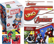 Avengers Rockerz UNO Marvel Edition Card Game & Mini Wobbling Character Figure Blind Box Collectible + Bonus Stickers Bundle Pack