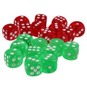 Fityle 20pcs Acrylic D6 Dices Dies Cubes for D & D Party Bar Poker Liar's Dice Game