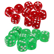 MagiDeal 20x Six Sided D6 Dice Playing D & D Warhammer RPG Board Game Favours Green/Red