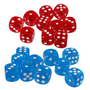 MagiDeal 20x Six Sided D6 Dice Playing D & D Warhammer RPG Board Game Favours Blue/Red