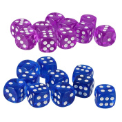 MonkeyJack 20Pcs Plastic Dice Round Corner Die 16mm Dotted for Traditional Boards Game