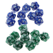 Baoblaze 20x Twenty Sided D20 Dice Dies for D & D RPG Table Board Card Game Favours Toy Green & Blue
