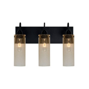 Besa Lighting 3WG-JUNI10GD Juni 3 Light Vanity Light with Gold Bubbled Glass Sha
