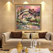 Kofun 5D Diamond Embroidery Painting DIY Riverside House Cross Stitch Home Decor 30x30 cm