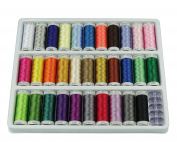 Simthreads 32 Different Colours Polyester Embroidery Machine Thread, 300M / Bobbin