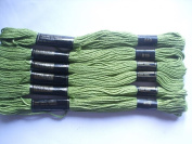 Pack of 6 Trebla Embroidery Thread / Skeins - 8m - Moss Green - Col. 819