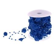 Prettyia 10m Rose Flower Artificial Pearls String Roll Garland Wedding Party Centrepieces Craft - Dark Blue, as described