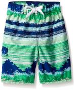 Kanu Surf Boys' Banzai Stripe Quick Dry Beach Board Shorts Swim Trunks, Green, Small