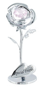 """""""Special Friend"""" Silver Plated Rose with Pink Crystal Glass by Haysom Interiors"""