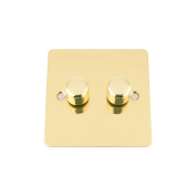 A5 10 Amp Light Dimmer Switch 2 Gang 2 Way 400W - Flat - Polished Brass